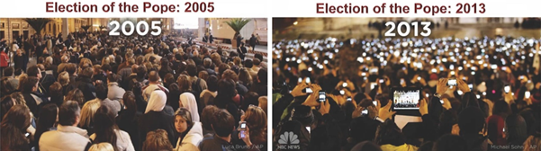 People attending the Pope election. In 2005 almost no one used phones, but un 2013 most people were taking pictures with their smartphones